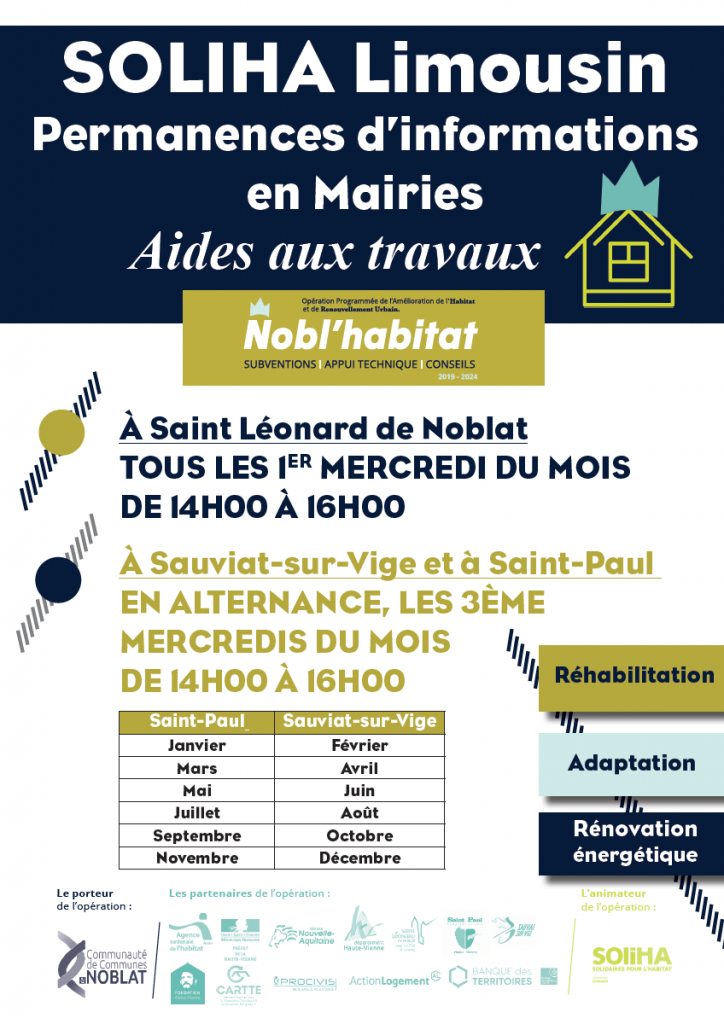 Affiche des permanences de SOLIHA Limousin